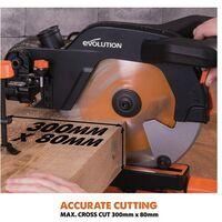 Evolution Power Tools R255SMS+ 255MM Multi-material Sliding Mitre Saw 230V