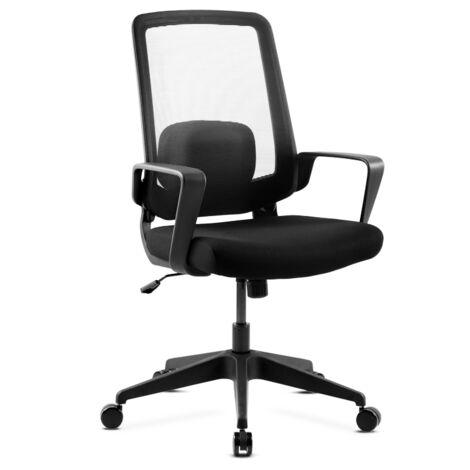 Siege pivotant de bureau ergonomique noir fauteuil pour office avec coussin