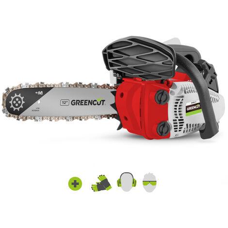 Tronconneuse GS250X-12 moteur à essence 2 temps 25,4cc 1,4cv. Épée de 12 pouces. Nombre de dents 44. Guidon ergonomique. Harnais d'épaule - Greencut
