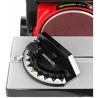 Ponceuse à bande LJ400C. Puissance 400W. Vitesse de la bande 7,35m/s. Inclinaison de la ceinture jusqu'à 90º. Table à disque inclinable jusqu'à 45º - Greencut