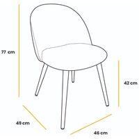 Lot de 2 chaises de salle à manger, de salon ou de cuisine rembourrées en velours, style élégant, bordeaux