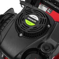 """Tondeuse à gazon GLM770XE essence 165cc 6cv démarrage électrique 4 temps automotrice lame acier double tranchant 460mm 18"""" hauteur de coupe réglable et panier d'une capacité de 55L - Greencut"""