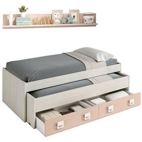 Cama nido con cajón y estante color blanco y rosa pastel 90x190 cm sin somier