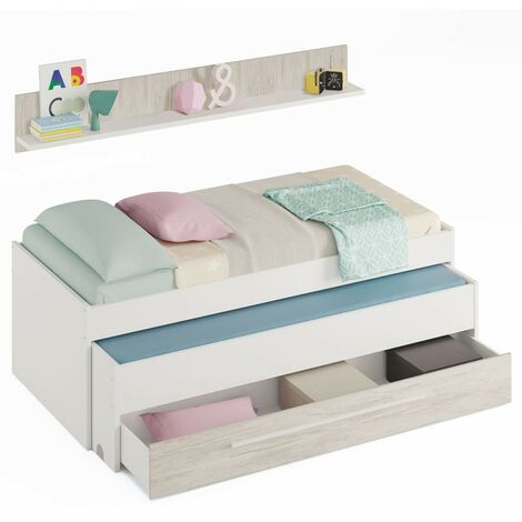 Cama nido con cajón + estante Billy conjunto juvenil habitación dormitorio estilo infantil blanco 65x199x96 cm
