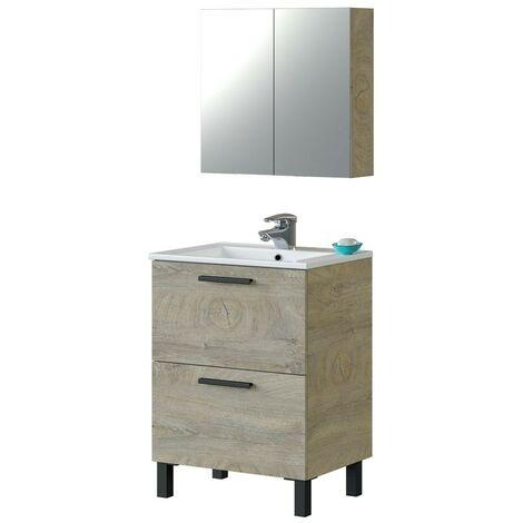 Mueble baño aseo color roble alaska 1 armario 2 puertas + espejo 60x45 cm lavabo CERÁMICO Incluido