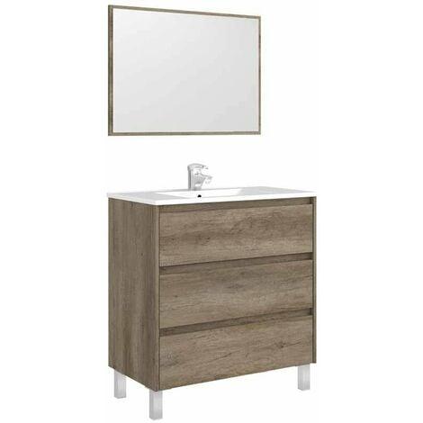 Mueble De Baño Con Espejo Dakota Soft Close Color Nordik 86x80x45 Cm No Incluye Lavamanos