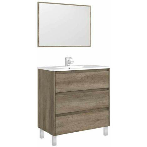 Mueble de baño Dakota con espejo y lavamanos de cerámica incluidos 86x80x45 cm color nordik