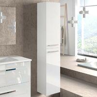 Columna aseo baño para lavabo suspendida en color blanco brillo con tiradores y 2 puertas diseño actual 30x25x150 cm