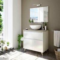 Mueble de baño aseo 1 cajón 2 puertas color blanco brillo y roble alaska moderno 81x46 cm SIN LAVAMANOS