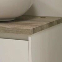 Mueble baño doble color roble y blanco 2 cajones 4 puertas 120x46 SIN LAVAMANOS