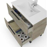 Pack baño Completo Color Roble Alaska Industrial (Mueble baño + Espejo + Columna) Lavabo CERÁMICO Incluido