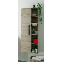 Columna baño aseo 1 armario y estantes color roble alaska estilo industrial almacenaje 135x51x25 cm