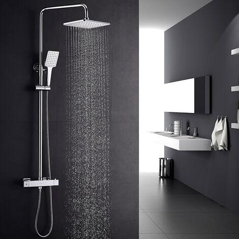 colonne de douche thermostatique r/églable Auralum/® Syst/ème de douche thermostatique avec douchette et douche /à effet pluie