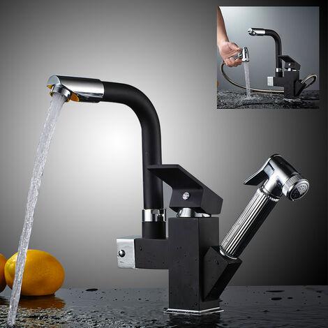 Auralum Robinet Mitigeur de cuisine avec douchette extractible NOIRE Eau chaude et froide Le tuyau de sortie tourne à 360 degrés Robinetterie Salle de bain