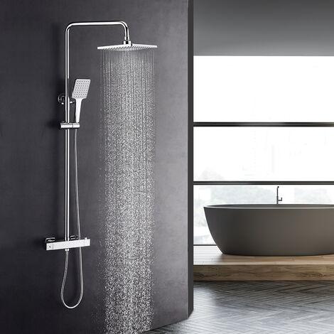 LONHEO Ensemble de douche avec Mitigeur Thermostatique Salle de bain WC Colonne de Douche Système de Douche Tête de douche 10 pouces Chromé Hydromassage Carré