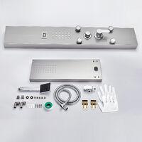 Auralum kit Colonne de Douche Panneau Affichage de la température, Inox avec douchette Hydromassante avec Buses Massants jets de Massage