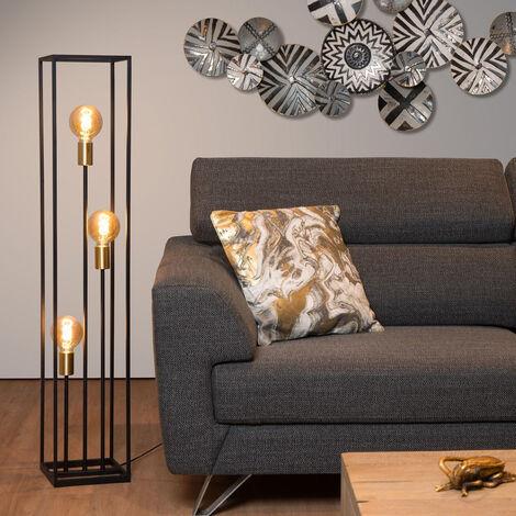 Flexible Dreibein Stehleuchte Schwarz Gold Design Wohnzimmer Couch Leselampe