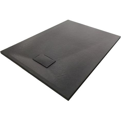 Receveur de douche noir série GT en SMC - largeur 90cm - longueur et accessoires sélectionnables: Sans système d'évacuation, 90x90cm (en)
