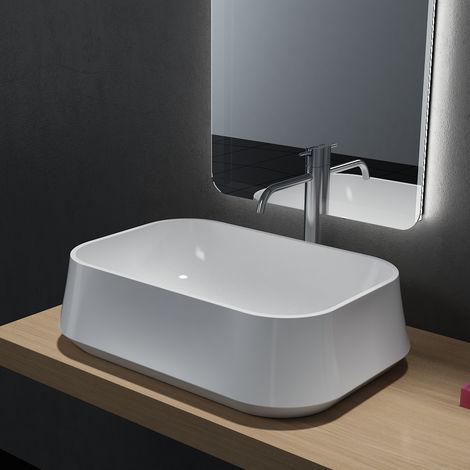 Vasque à poser PB2161 en solide surface (Solid Stone) – 60 x 42 x 16 cm – en blanc mat ou haute billance: Blanc mat, Sans cache supplémentaire