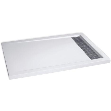 Receveur de douche extra plat en pierre solide (solid stone) 12090BW blanc brillant 120x90x4,5cm