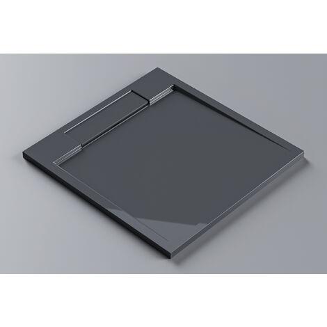 Receveur de douche en pierre solide, gris brillant, M9090CG / PB3087GG - 90x90x3,5cm
