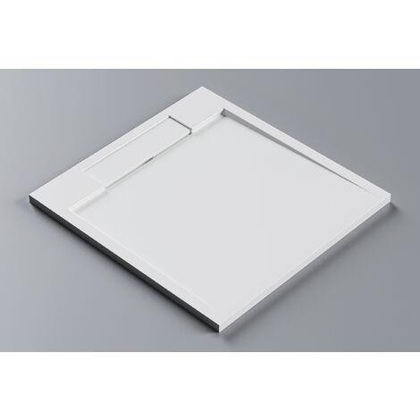 Receveur de douche carré en pierre solide (Solid Stone) PB3087 - blanc mat - 90x90x3,5 cm