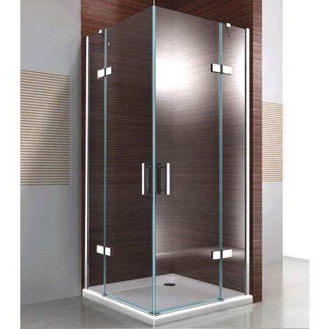 Paroi de douche d'angle en verre véritable de 8mm NANO transparent DX407 - largeur sélectionnable: 120cm, 80cm