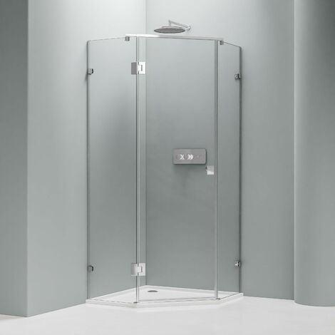 Paroi de douche pentagonale en verre véritable NANO EX415 - 100 x 100 x195cm - avec receveur