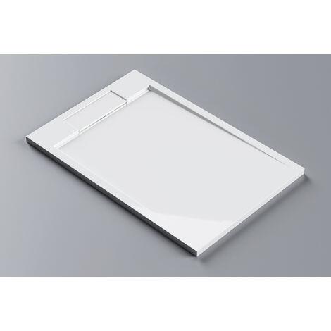Receveur de douche en pierre solide (solid stone) M2280CW / PB3084 blanc brillant 120x80x3,5cm