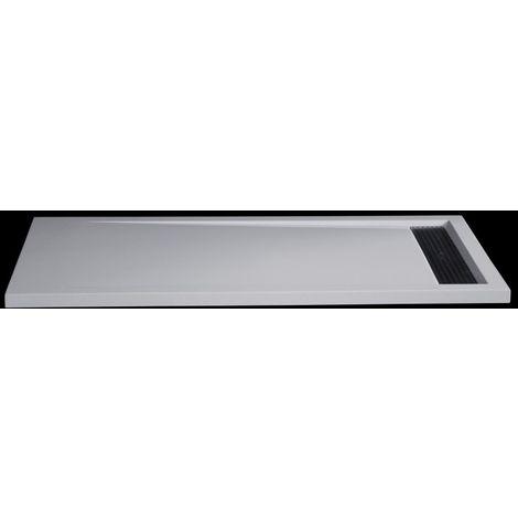 Receveur de douche en pierre solide (solid stone) 1680BW rectangulaire, 160x80x4,5cm - blanc brillant