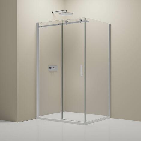 Paroi de douche fixe et porte coulissante - Nano - EX802 - 90 x 140 x 195 cm - receveur et épaisseur du verre en option: verre ESG de 6mm, Mit Acryl-Duschtasse (de)