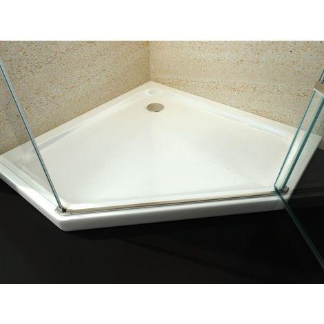 Receveur de douche pentagonal en acrylique sanitaire - 80 x 80 cm - avec bonde d'écoulement