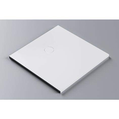 Receveur de douche en pierre solide (Solid Surface) BA3096 - 100 x 100 cm - couleur sélectionnable: Sans système d'évacuation, Blanc mat