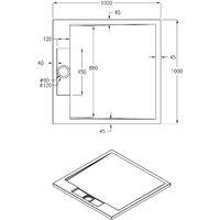Receveur de douche carré PB3086G en pierre solide (Solid Stone) - blanc brillant - 100x100x3,5 cm