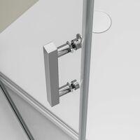 Paroi de douche d'angle EX416 - en verre véritable NANO - 80 x 80 x 195cm - avec receveur