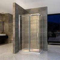 Paroi de douche fixe et porte coulissante - verre Nano 6mm - EX802 - 90 x 140 x 195 cm - avec receveur