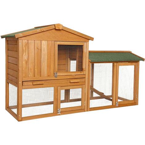 Kaninchenstall Kleintiergehege Hasenvilla 147x52x85 Cm Rh10240 2