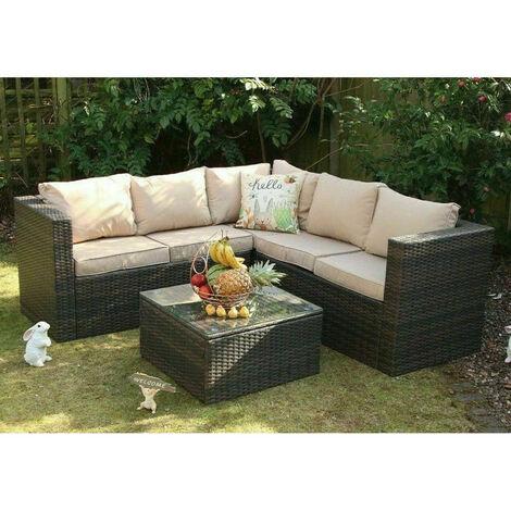 Vancouver Outdoor Rattan Garden Furniture 5 Seater Corner Sofa Patio Set Brown