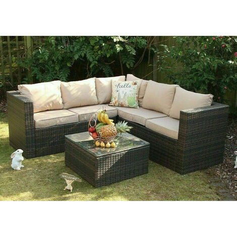Vancouver Outdoor Rattan Garden Furniture 5 Seater Corner Brown Sofa Patio Set With Cover Brown