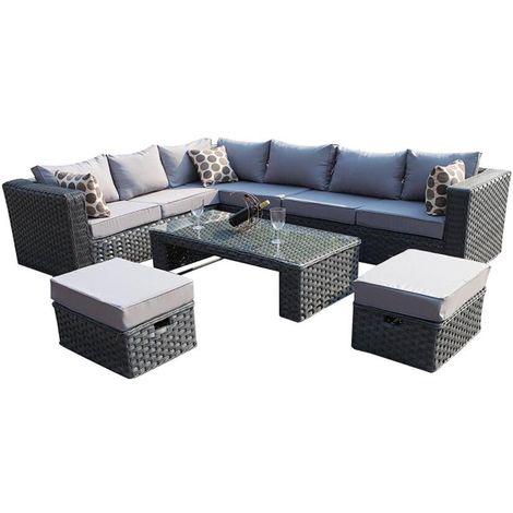 Yakoe Conservatory MODULAR 8 Seater Rattan Corner Grey Sofa Set Garden Furniture With Rain Cover