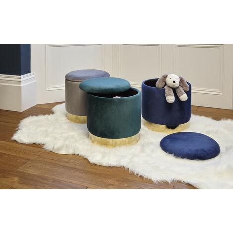 Roomee Velvet Storage Ottoman Upholstered Dressing table stool in green