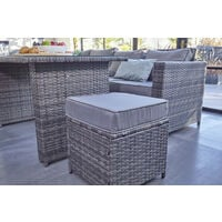 Barcelona Rattan garden furniture 9 seater Dining Corner sofa set Grey