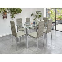 Roomee Glass Dining Table Set with 6 Chairs in Grey Dining Room Furniture