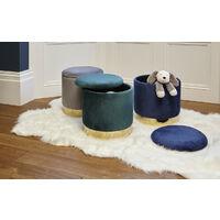 Roomee Velvet Storage Ottoman Upholstered Dressing table stool in grey