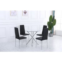 Roomee Orsa Round Glass Dining Table Set with 4 Chairs in Black Dining Room Furniture