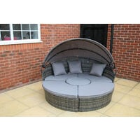 Cannes Garden Outdoor Furniture Rattan Sun Lounger Island in Grey