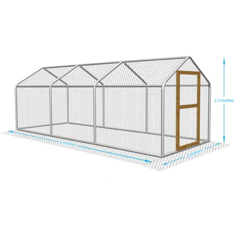 2m x 6m Walk in Chicken Run - One Inch Hex Mesh