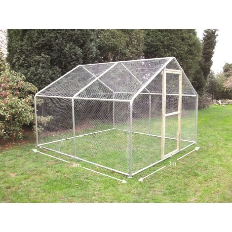 3m x 4m Walk in Chicken Run - One Inch Hex Mesh