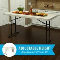 Lifetime 6-Foot Adjustable Height Table (Commercial) - Almond
