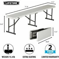 Lifetime 6-Foot Fold-In-Half Bench (Light Commercial) - Almond